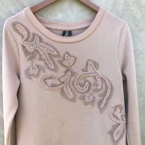 Joe's Jeans nude embroidered sweatshirt sz Large